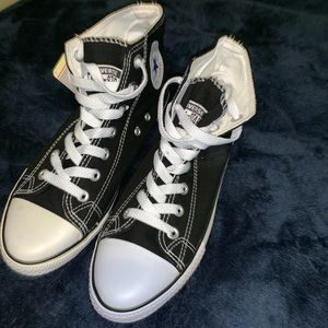 Black and white High top converse
